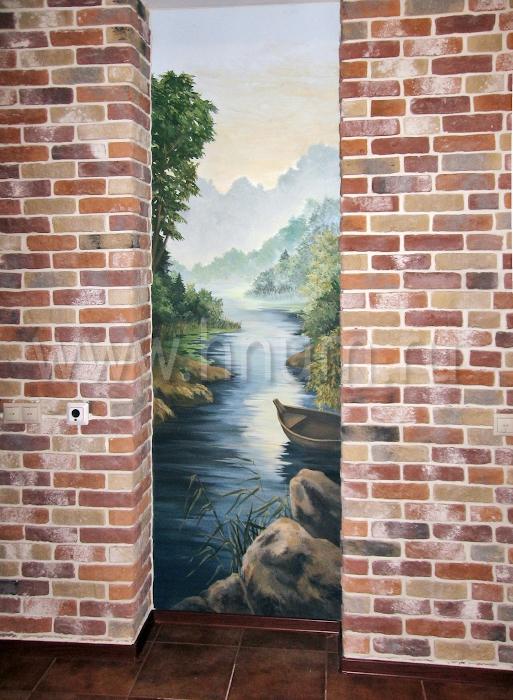 Художественные живописные панно на стенах на тему северной карельской природы в коридоре квартиры - на заказ - художественная мастерская БМ ХНУМ