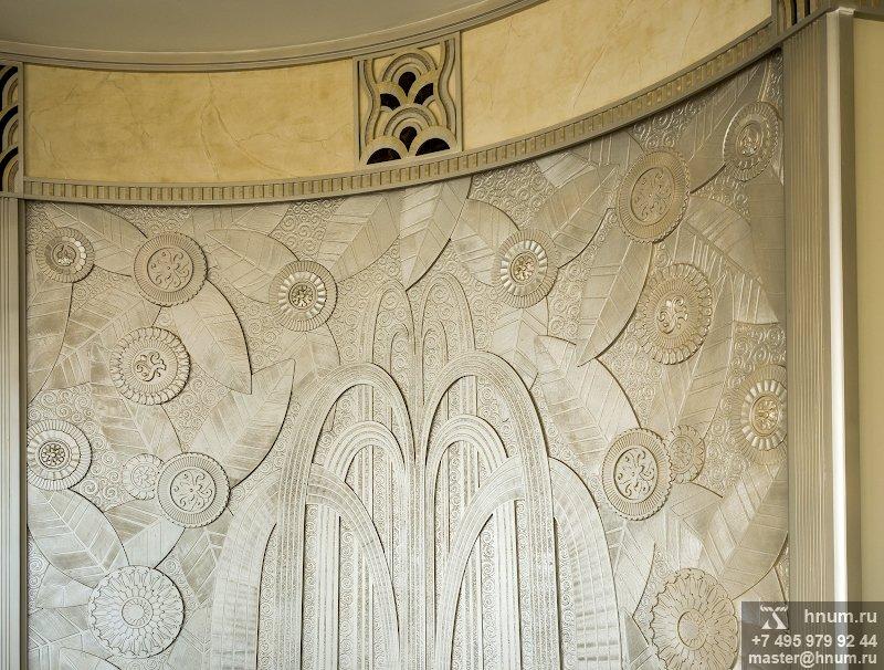 Декоративное рельефное панно Фонтан в стиле ар-деко в интерьере гостиной - на заказ - художественная мастерская БМ ХНУМ