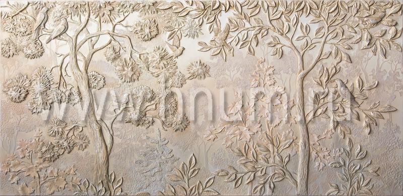 Декоративное рельефное панно на тему природы и леса на стене в спальне в квартире - рельефные панно на заказ - художественная мастерская БМ ХНУМ