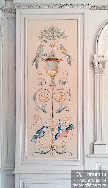 Художественные и модельные работы для оформления интерьера резным деревом, камнем и росписями в загородном доме - на заказ - художественная мастерская ХНУМ