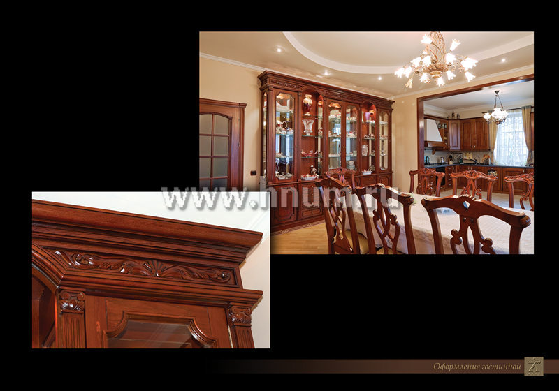 Мебель из дерева с резными элементами и деревянная отделка интерьера в частном загородном доме