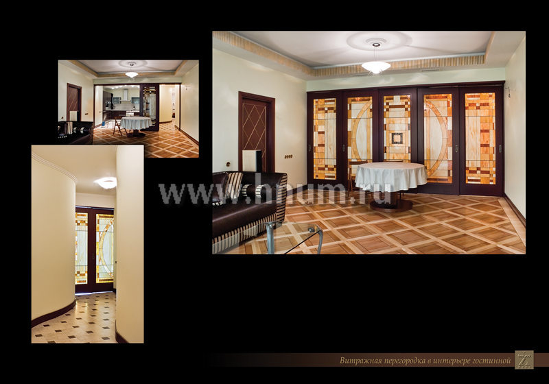 Витражная перегородка и отделка интерьера лепниной и деревом в частной квартире