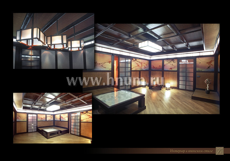 Отделка деревом, мебель и роспись по ткани в японском стиле в комнате отдыха в частном загородном доме