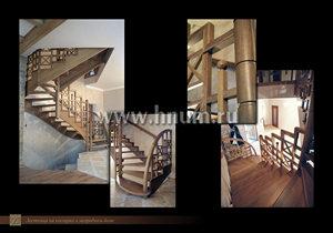 Деревянная лестница на косоурах индивидуального дизайна в частном загородном