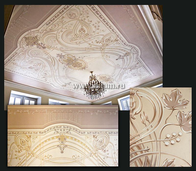 Декоративная роспись потолка в интерьере частного загородного дома