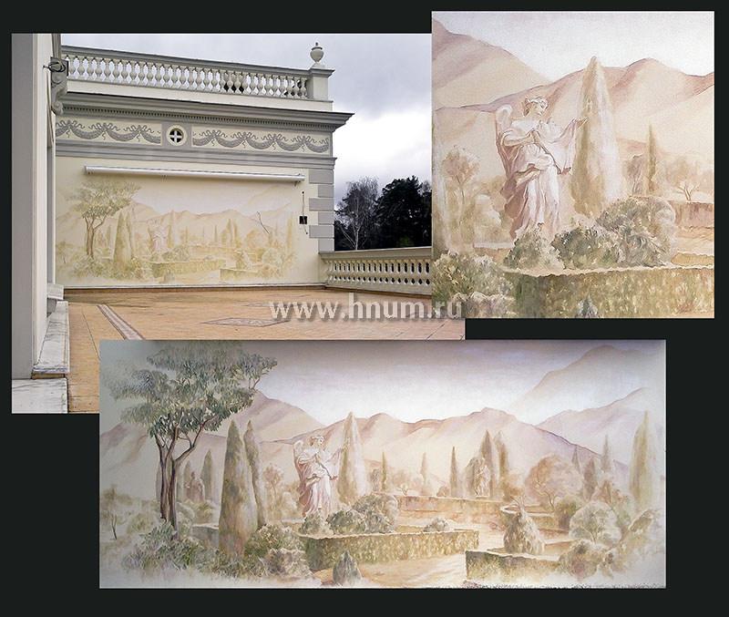 Художественная роспись стены патио загородного частного дома