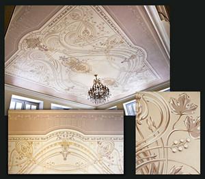 Роспись потолка в интерьере частного загородного дома