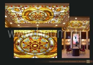 Витражные потолки тиффани изготовленные на заказ в витражной мастерской БМ ХНУМ - В египетском стиле