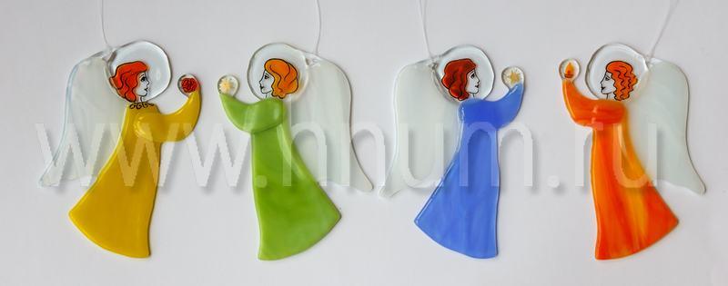 Ангелочек из цветного витражного стекла фьюзинг - Витражи в подарок - купить в интернет магазине БМ ХНУМ