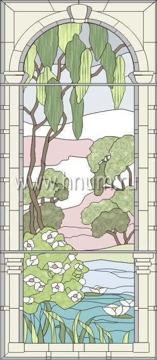 Витражные ниши и панно тиффани - изготовление на заказ -эскиз 8