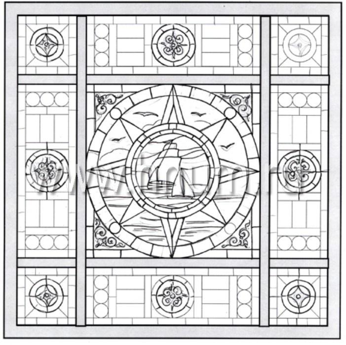 Витражные ниши и панно тиффани - изготовление на заказ -эскиз 24
