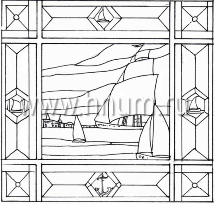 Витражные ниши и панно тиффани - изготовление на заказ -эскиз 25