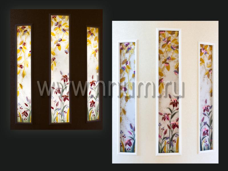 Витражные ниши триптих в технике фьюзинг в холле квартиры - изготовление витражных ниш и панно на заказ