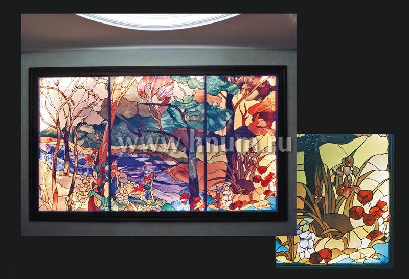 Витражное панно пейзаж Времена Года в нише в квартире - изготовление витражных ниш и панно на заказ