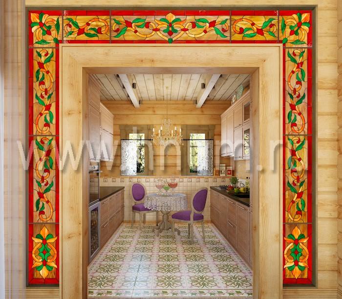 Витражный портал-ниша в межкомнатном проходе в частном загородном доме - изготовление на заказ - витражная мастерская БМ ХНУМ