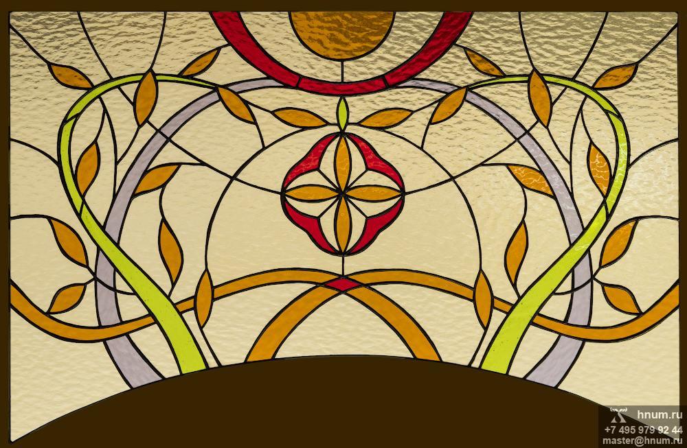 Витражное окно над дверным проёмом в загородном доме - на заказ - витражная мастерская ХНУМ