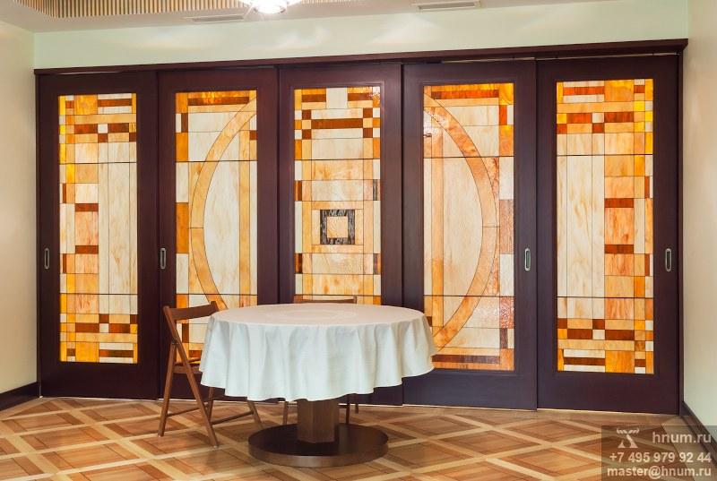 Витражная перегородка в стиле ар-деко в квартире - изготовление на заказ - витражная мастерская ХНУМ