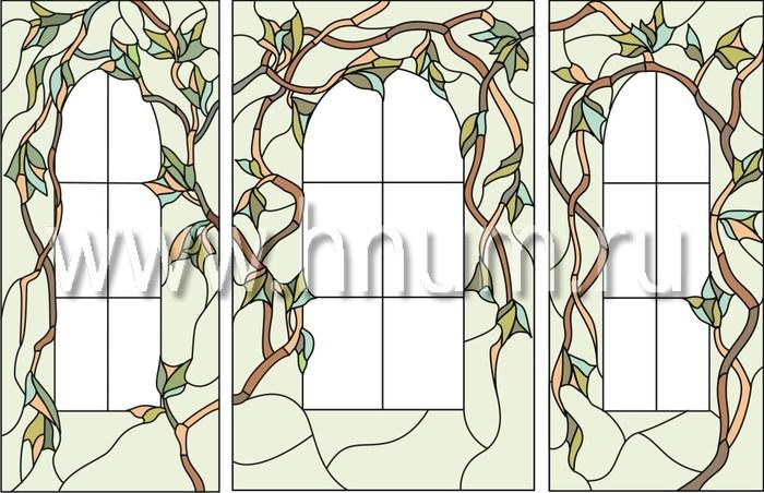 Витражные перегородки тиффани - изготовление на заказ -эскиз 2