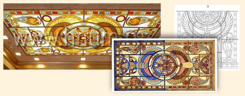 Этапы изготовления витражного потолка на заказ - витражная мастерская БМ ХНУМ