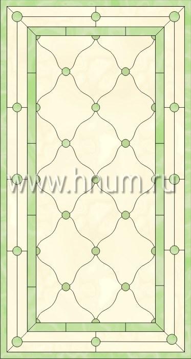 Прямоугольный витражный потолок, изготовленный на заказ в витражной мастерской БМ ХНУМ - Французское окно - Эскиз №1