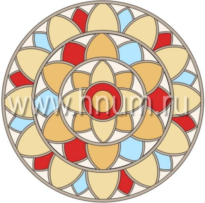 Витражный потолок тиффани, изготовленный на заказ в витражной мастерской БМ ХНУМ - Солнечный цветок - Эскиз №2