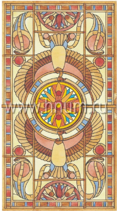 Витражный потолок в стиле ар-деко, изготовленный на заказ в витражной мастерской БМ ХНУМ - Египетская сказка - Эскиз №3