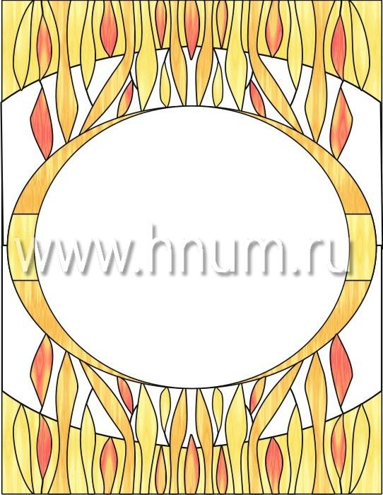 Прямоугольный витражный потолок, изготовленный на заказ в витражной мастерской БМ ХНУМ - Пламя - Эскиз №4