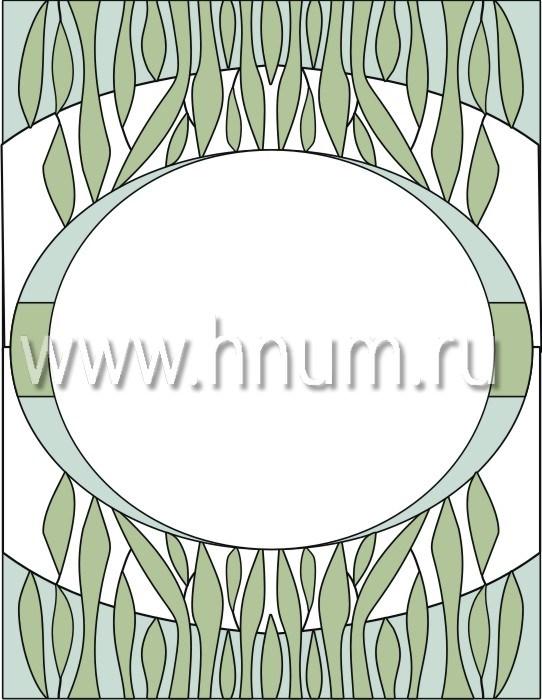 Прямоугольный витражный потолок, изготовленный на заказ в витражной мастерской БМ ХНУМ - Трава - Эскиз №5