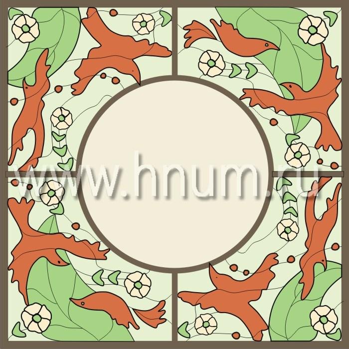 Витражный потолок тиффани, изготовленный на заказ в витражной мастерской БМ ХНУМ - Птицы - Эскиз №6