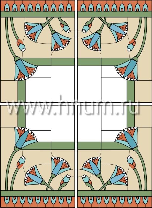 Витражный потолок в стиле ар-деко, изготовленный на заказ в витражной мастерской БМ ХНУМ - Лотосы - Эскиз №7