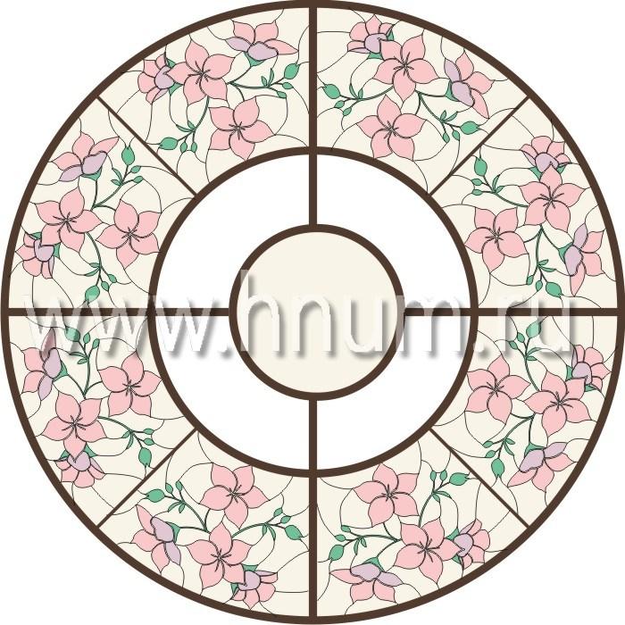 Витражный потолок тиффани, изготовленный на заказ в витражной мастерской БМ ХНУМ - Нежность - Эскиз №8