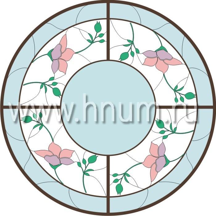 Витражный потолок тиффани, изготовленный на заказ в витражной мастерской БМ ХНУМ - Шиповник - Эскиз №9