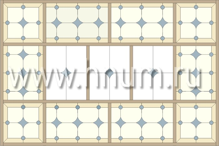 Прямоугольный витражный потолок, изготовленный на заказ в витражной мастерской БМ ХНУМ - Воздушность - Эскиз №10