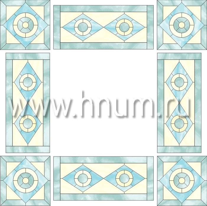 Витражный потолок тиффани, изготовленный на заказ в витражной мастерской БМ ХНУМ - Простые фигуры - Эскиз №11