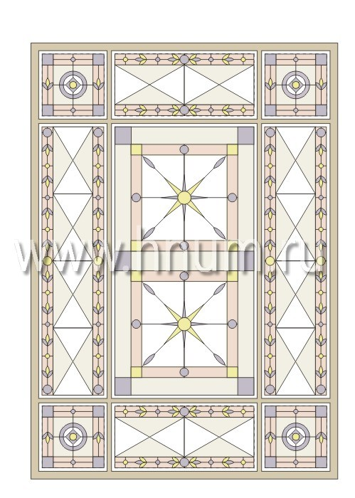 Прямоугольный витражный потолок, изготовленный на заказ в витражной мастерской БМ ХНУМ - Английский аристократ - Эскиз №12