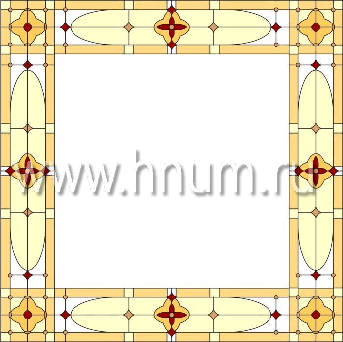 Витражный потолок тиффани, изготовленный на заказ в витражной мастерской БМ ХНУМ - Готический собор - Эскиз №13