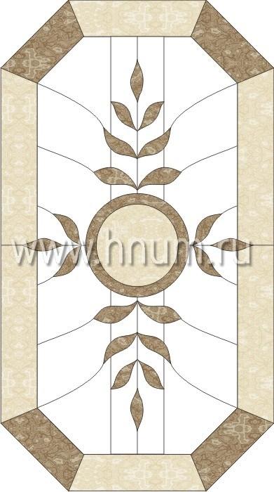 Прямоугольный витражный потолок, изготовленный на заказ в витражной мастерской БМ ХНУМ - Венок - Эскиз №14