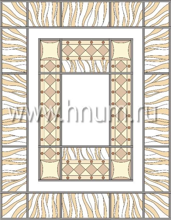 Прямоугольный витражный потолок, изготовленный на заказ в витражной мастерской БМ ХНУМ - Старинная мебель - Эскиз №15