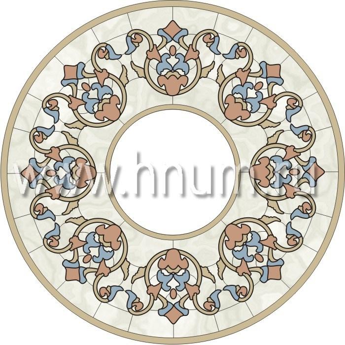 Витражный потолок тиффани, изготовленный на заказ в витражной мастерской БМ ХНУМ - Цветочная вязь - Эскиз №16