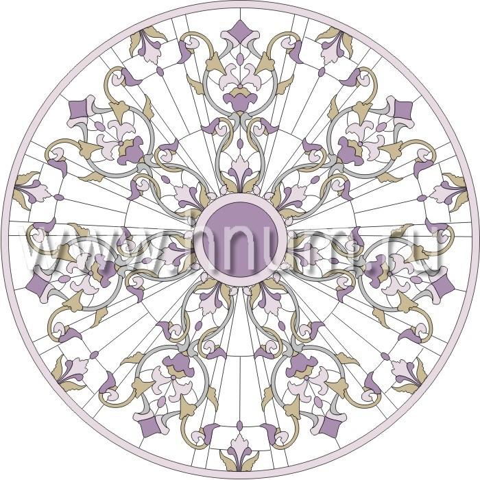 Витражный потолок тиффани, изготовленный на заказ в витражной мастерской БМ ХНУМ - Цветочный шатер - Эскиз №16