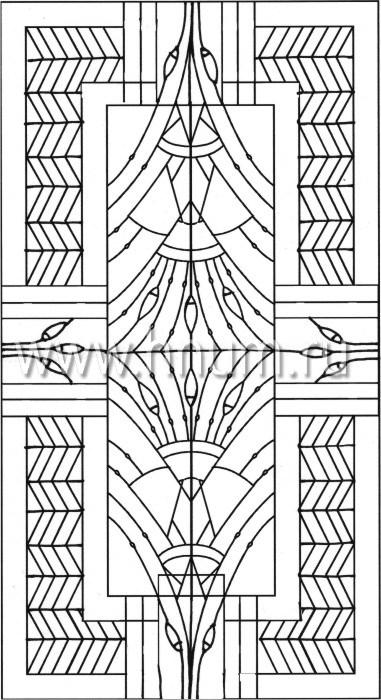Витражный потолок в стиле ар-деко, изготовленный на заказ в витражной мастерской БМ ХНУМ - Лотосовый пруд - Эскиз №19