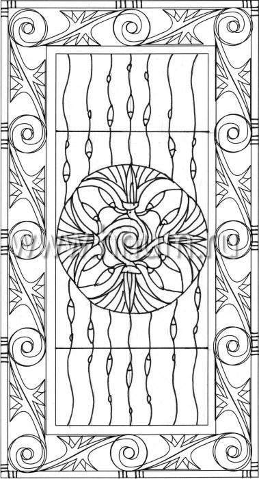 Витражный потолок в стиле ар-деко, изготовленный на заказ в витражной мастерской БМ ХНУМ - Лотосовые гирлянды - Эскиз №20
