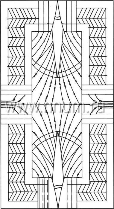 Витражный потолок в стиле ар-деко, изготовленный на заказ в витражной мастерской БМ ХНУМ - Лотосовый пруд 2 - Эскиз №21