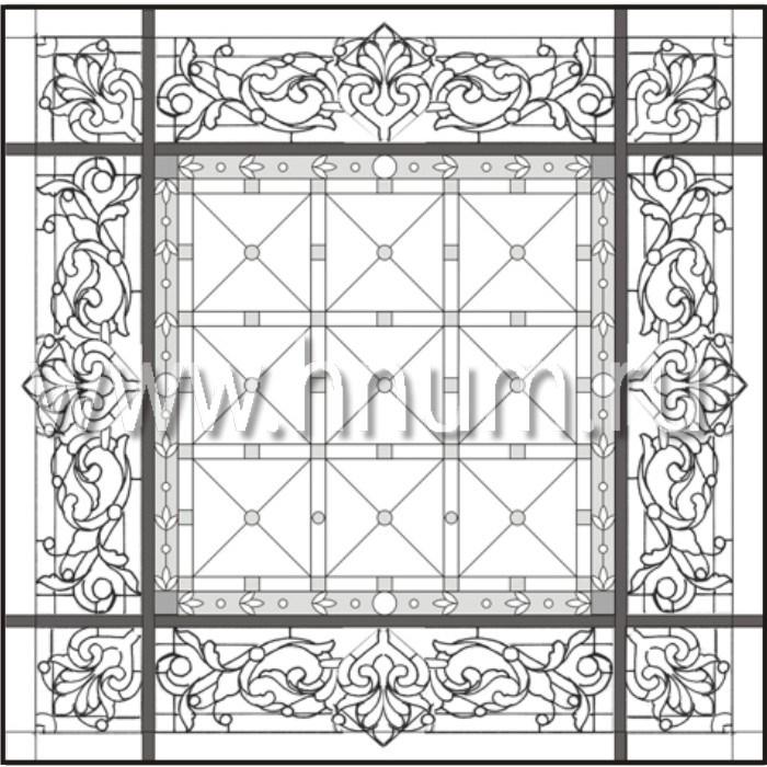 Витражный потолок тиффани, изготовленный на заказ в витражной мастерской БМ ХНУМ - Цветочная сказка - Эскиз №22