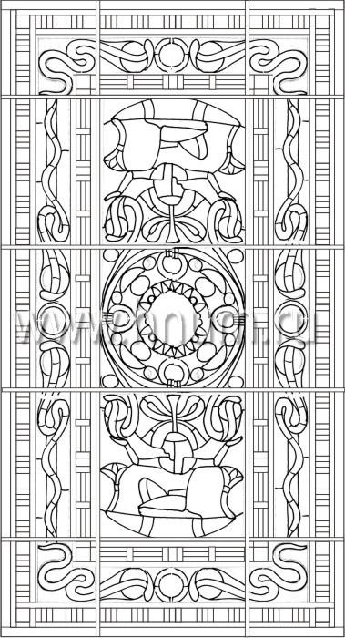 Витражный потолок в стиле ар-деко, изготовленный на заказ в витражной мастерской БМ ХНУМ - Картуш 2 - Эскиз №23
