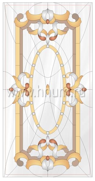 Витражный потолок тиффани, изготовленный на заказ в витражной мастерской БМ ХНУМ - Затея - Эскиз №44