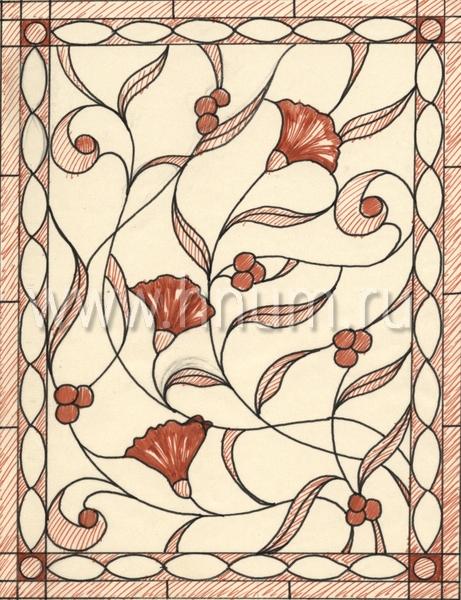 Витражный потолок тиффани, изготовленный на заказ в витражной мастерской БМ ХНУМ - Окно в сказочный сад - Эскиз №47
