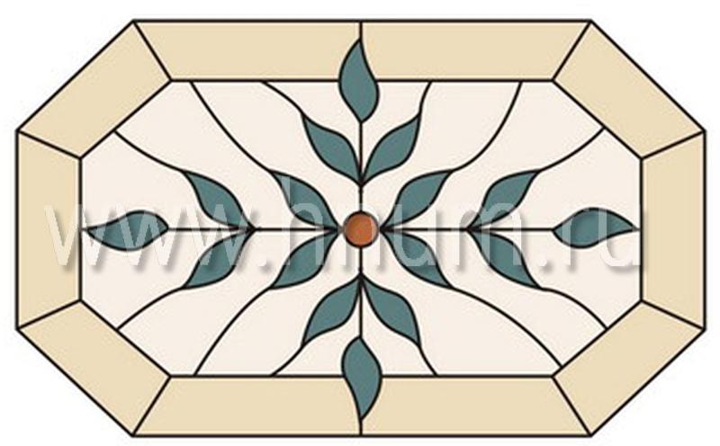 Витражный потолок тиффани, изготовленный на заказ в витражной мастерской БМ ХНУМ - Перекрестье - Эскиз №48
