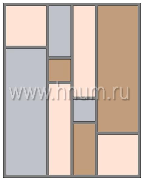 Витражный потолок тиффани, изготовленный на заказ в витражной мастерской БМ ХНУМ - Простая геометрия - Эскиз №49