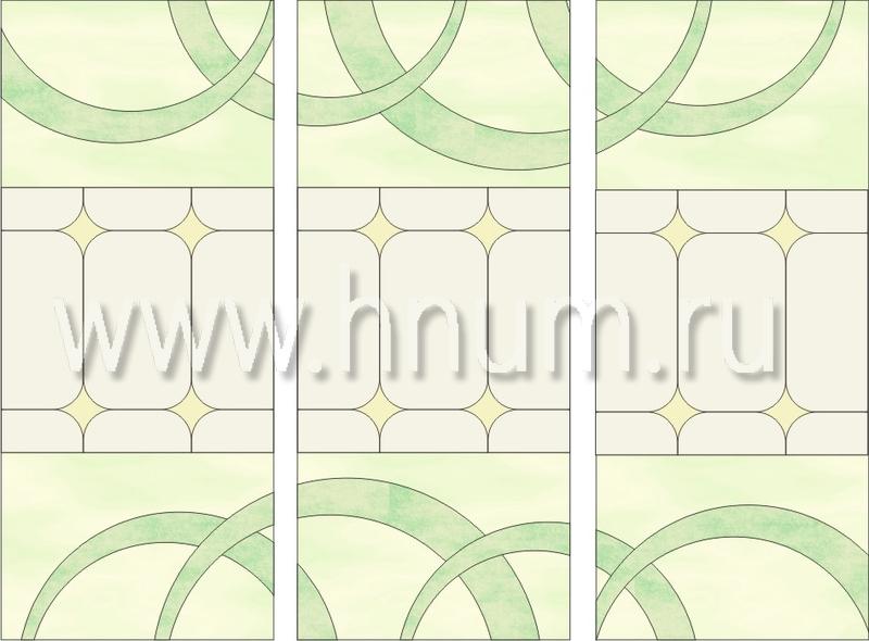 Витражный потолок тиффани, изготовленный на заказ в витражной мастерской БМ ХНУМ - Ритмичность - Эскиз №50